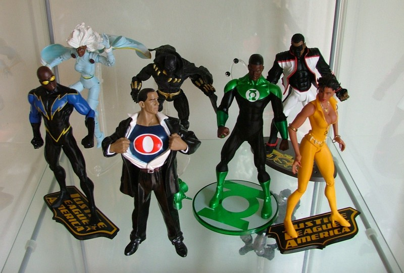 Black Lightning, Storm, Obama by Alex Ross, Black Panther, Green Lantern John Stewart, Mister Terrific, Vixen